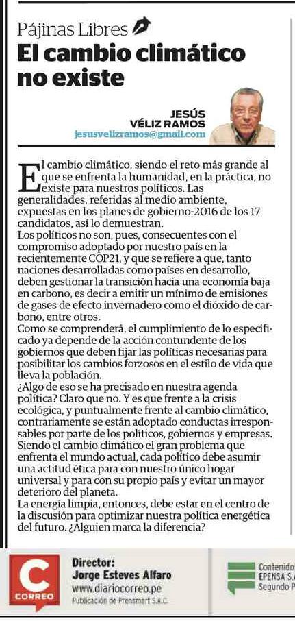 EL CAMBIO CLIMÁTICO NO EXISTE.- CORREO 13-02-2016